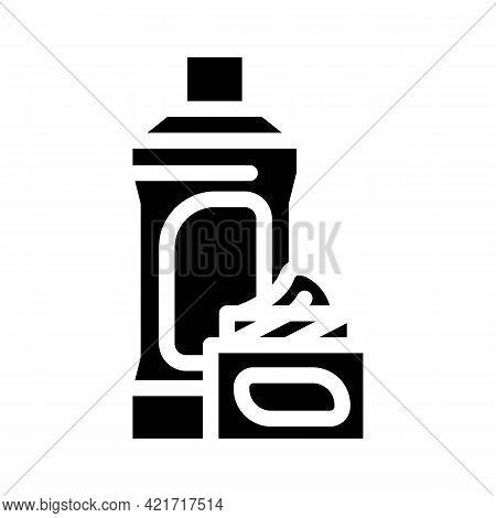 Chemical Liquid For Car Polishing Glyph Icon Vector. Chemical Liquid For Car Polishing Sign. Isolate