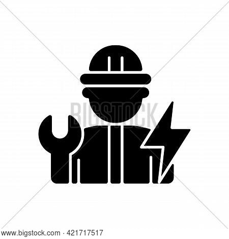 Electrician Black Glyph Icon. Electrical Wiring System Installation And Maintenance. Operating With