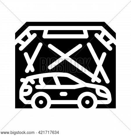 Garage Box For Car Polishing Glyph Icon Vector. Garage Box For Car Polishing Sign. Isolated Contour