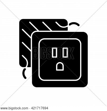 Loose Outlet Black Glyph Icon. Electricity Flow Disruption. Fire Hazard Risk. Faulty Electrical Outl