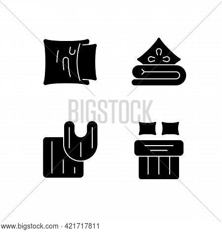 Domestic Textile Black Glyph Icons Set On White Space. Pillow Case. Linen Bedding. Bathroom Rugs. Do