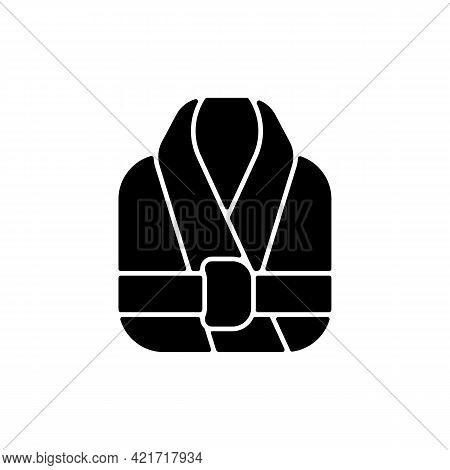 Bath Robe Black Glyph Icon. Clean Folded Clothes. Bathrobe For Shower. Spa, Sauna Wear. Textile Prod