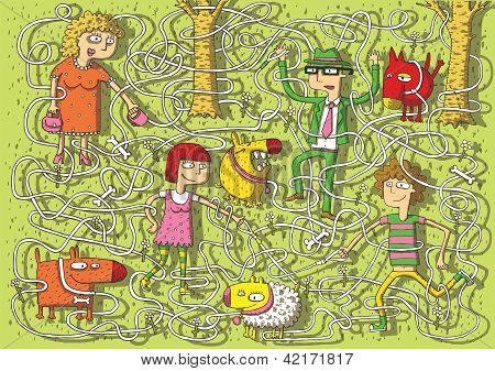 Walking Dogs In Park Maze Game