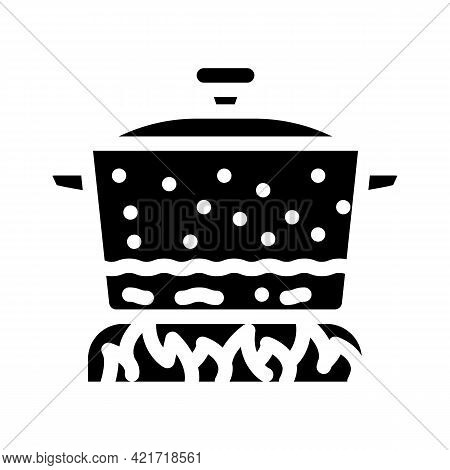 Pan For Cooking Glyph Icon Vector. Pan For Cooking Sign. Isolated Contour Symbol Black Illustration