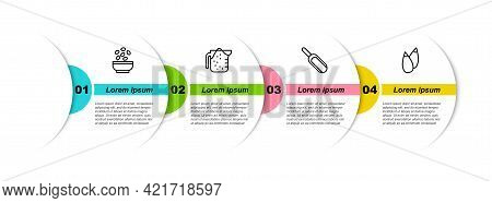 Set Line Seeds In Bowl, Measuring Cup, Scoop Flour And . Business Infographic Template. Vector