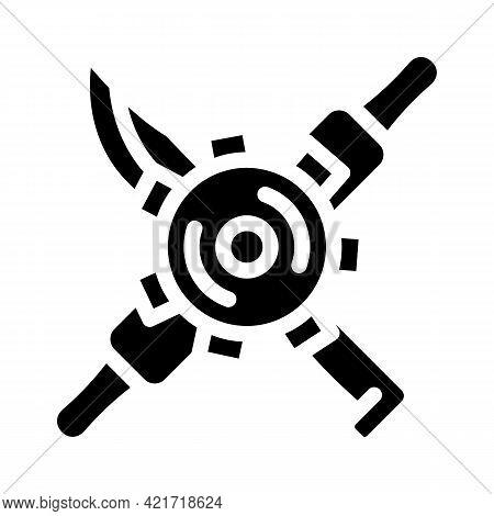 Gear With Kitchen Utensils Glyph Icon Vector. Gear With Kitchen Utensils Sign. Isolated Contour Symb