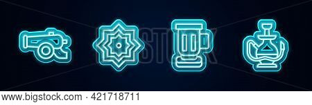 Set Line Ramadan Cannon, Octagonal Star, Medieval Goblet And Hookah. Glowing Neon Icon. Vector