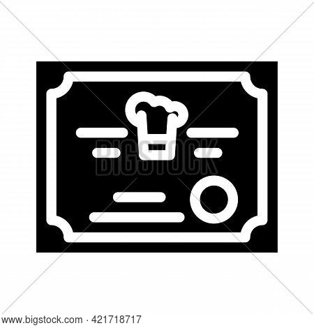 Diploma Cooking Courses Glyph Icon Vector. Diploma Cooking Courses Sign. Isolated Contour Symbol Bla
