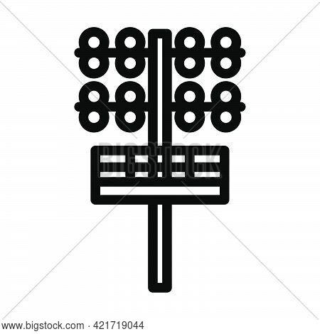 Icon Of Football Light Mast. Editable Bold Outline Design. Vector Illustration.