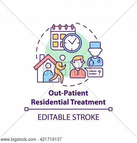 Out Patient Residential Treatment Concept Icon. Rehabilitation Types. Special Disease Treatment. Pat