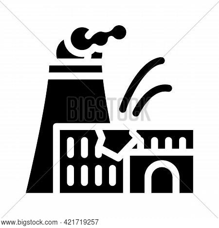 Explosion At Nuclear Power Plant Disaster Glyph Icon Vector. Explosion At Nuclear Power Plant Disast
