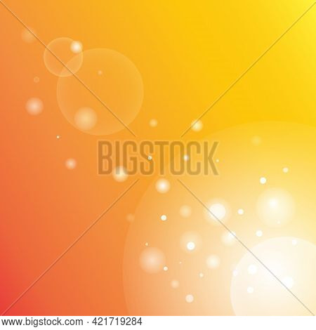 Sun Rays With Bokeh On Orange Sky Background. Modern Summer Picture With A Sunburst Sunbeams. Bright