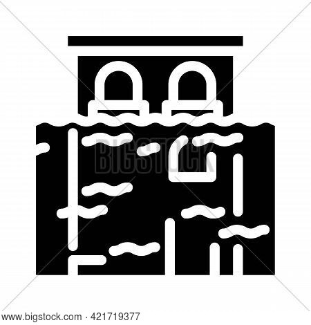 Flood Disaster Glyph Icon Vector. Flood Disaster Sign. Isolated Contour Symbol Black Illustration