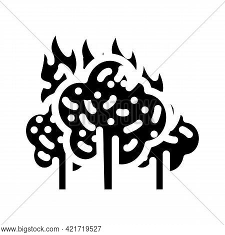 Forest Fire Disaster Glyph Icon Vector. Forest Fire Disaster Sign. Isolated Contour Symbol Black Ill