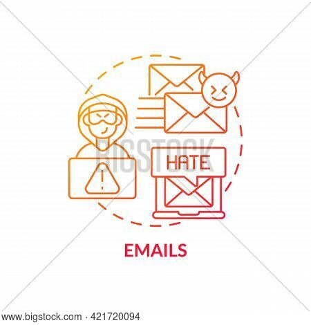 Emails Concept Icon. Cyberbullying Channel Idea Thin Line Illustration. Internet Harassment. Viruses