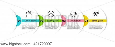 Set Line Astronomical Observatory, Planet, And Telescope. Business Infographic Template. Vector