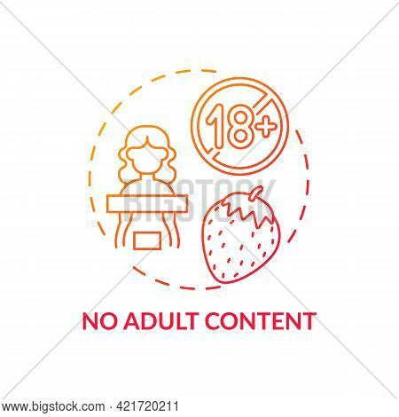 No Adult Content Concept Icon. Social Media Safety Idea Thin Line Illustration. Child Protection Fro