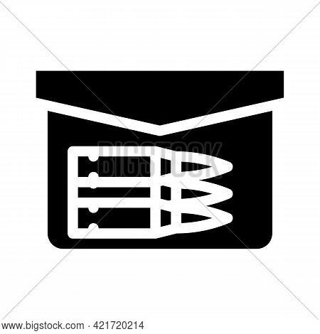 Bullet Pocket Glyph Icon Vector. Bullet Pocket Sign. Isolated Contour Symbol Black Illustration