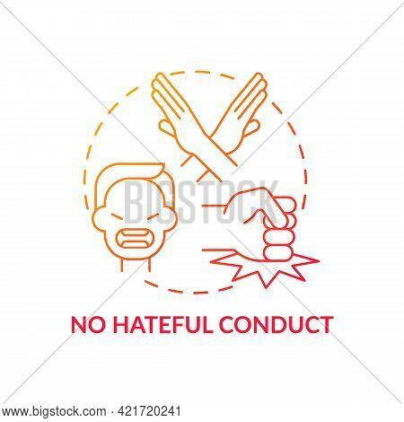 No Hateful Conduct Concept Icon. Social Media Safety Idea Thin Line Illustration. Tackling Online Ha