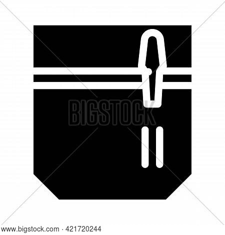 Pencil And Pen Carrying Pocket Glyph Icon Vector. Pencil And Pen Carrying Pocket Sign. Isolated Cont