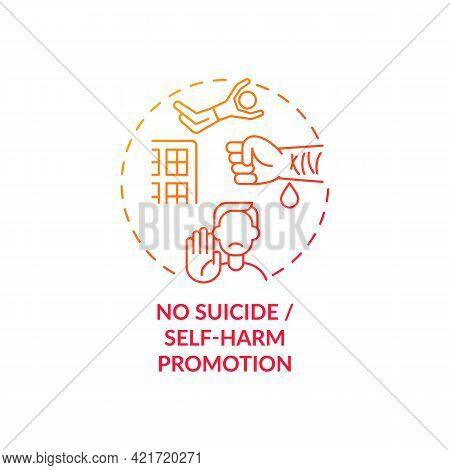 No Suicide And Self-harm Promotion Concept Icon. Unhealthy, Suicidal Behavior Idea Thin Line Illustr