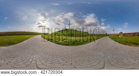 Full Spherical Hdri Panorama 360 Degrees Angle View On Pedestrian Footpath And Bicycle Lane Path Nea