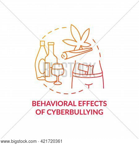Behavioral Cyberbullying Effects Concept Icon. Negative Aftermaths Idea Thin Line Illustration. Losi