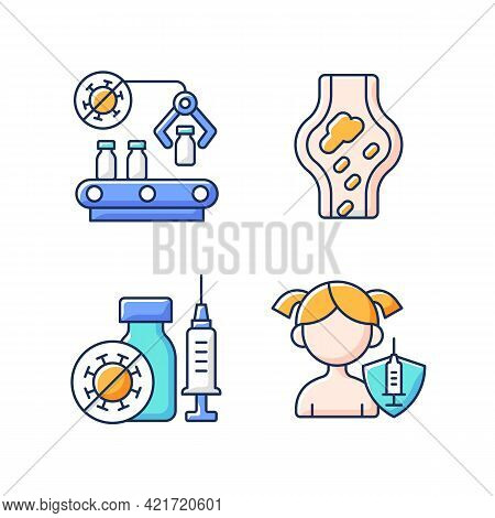 Vaccination Rgb Color Icons Set. Pharmaceutical Manufacture. Drug Production And Distribution. Healt