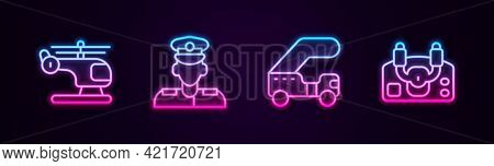 Set Line Helicopter, Pilot, Passenger Ladder And Aircraft Steering Helm. Glowing Neon Icon. Vector