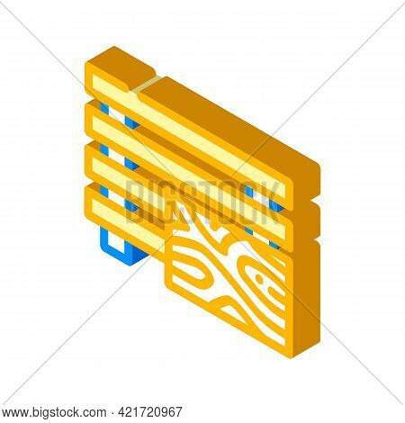 Treated Wood Building Material Isometric Icon Vector. Treated Wood Building Material Sign. Isolated