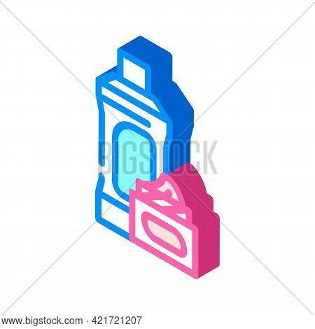 Chemical Liquid For Car Polishing Isometric Icon Vector. Chemical Liquid For Car Polishing Sign. Iso