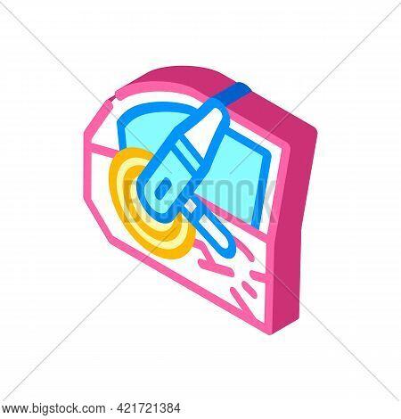 Door Car Polishing Isometric Icon Vector. Door Car Polishing Sign. Isolated Symbol Illustration