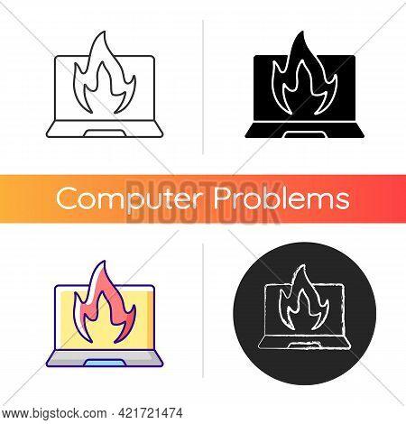 Computer Burning Icon. Hardware Crash, Overheating Issue. Burning Laptop, Pc Problems. Electronics D