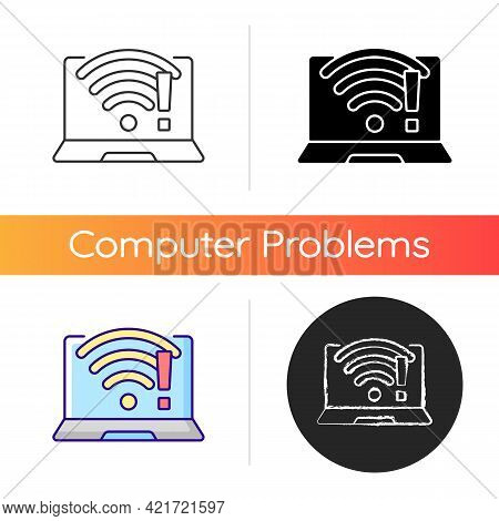 Wi Fi Does Not Work Icon. Wireless Connection Issue, Weak Signal. No Internet. Fix Wifi. Communicati