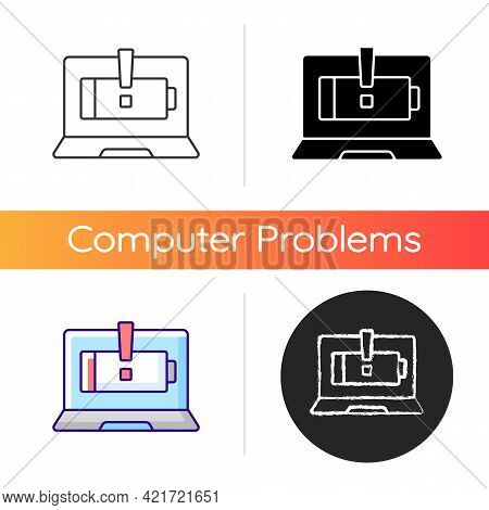 Computer Does Not Charge Icon. Broken Notebook Battery. Electricity Supply Issue. Repair Service. La