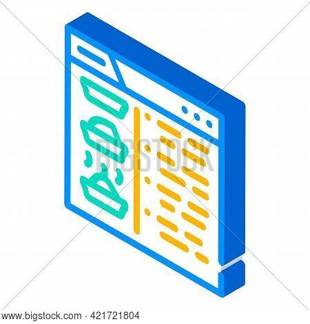 Recipe Website Isometric Icon Vector. Recipe Website Sign. Isolated Symbol Illustration