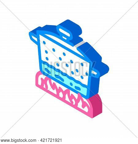 Pan For Cooking Isometric Icon Vector. Pan For Cooking Sign. Isolated Symbol Illustration