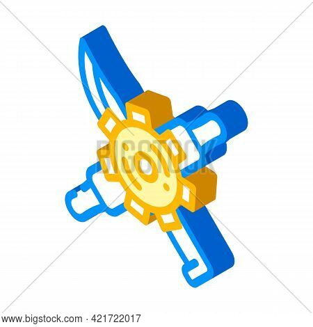 Gear With Kitchen Utensils Isometric Icon Vector. Gear With Kitchen Utensils Sign. Isolated Symbol I