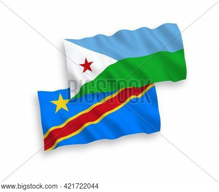 National Fabric Wave Flags Of Republic Of Djibouti And Democratic Republic Of The Congo Isolated On