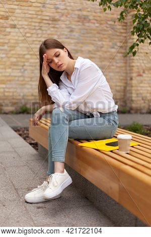 Psychological Trauma. Upset Girl Sits Outdoors, Female Problems. Depression And Violence. Broken Hea