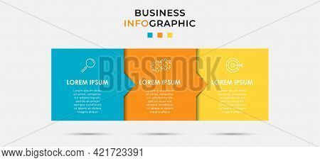 Vector Infographic Label Design Business Template With Icons And 3 Options Or Steps. Can Be Used For