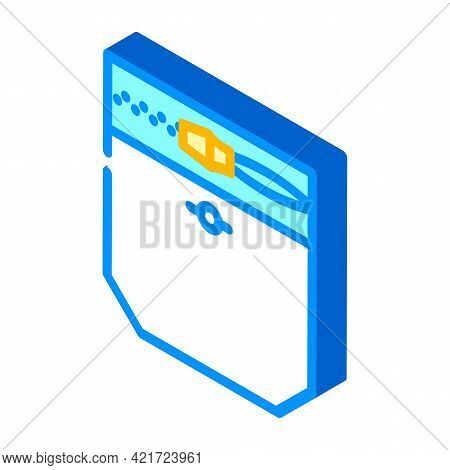 Zipper Lock Pocket Isometric Icon Vector. Zipper Lock Pocket Sign. Isolated Symbol Illustration