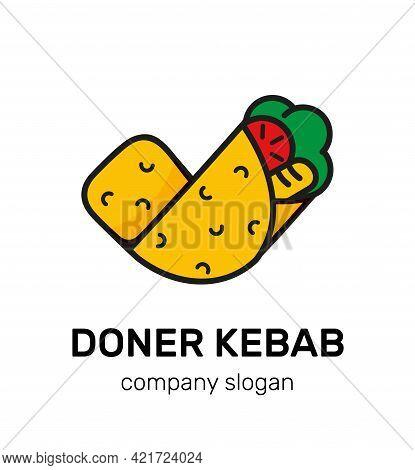 Logo Shawarma Food Vector Illustration. Restaurant Menu Logotype Icon Doner Kebab Fastfood Vector Gr