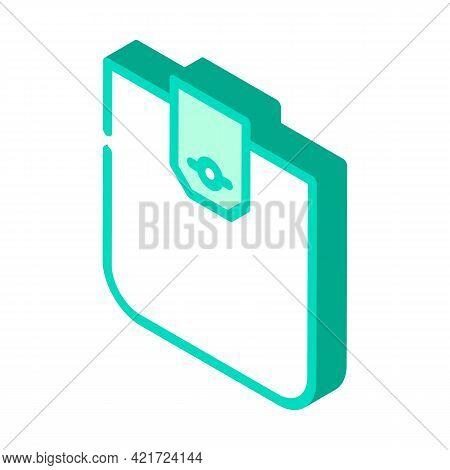 Flap Pocket Isometric Icon Vector. Flap Pocket Sign. Isolated Symbol Illustration