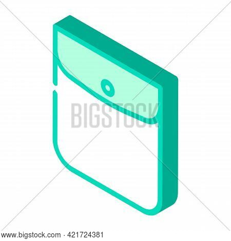 Button Closed Pocket Isometric Icon Vector. Button Closed Pocket Sign. Isolated Symbol Illustration