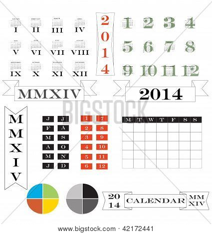 Roman Numerals Calendar And Elements For 2014