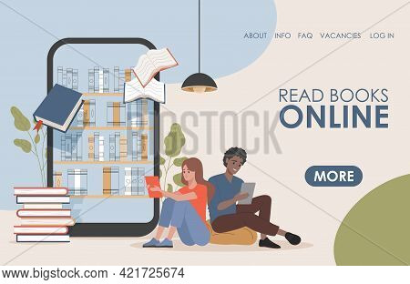 Read Book Online Vector Flat Landing Page Template. Young Happy Man And Woman Reading Electronic Boo