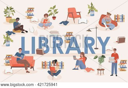 Library Word Vector Flat Poster Design With Text Space. Happy Smiling People Sitting In Comfortable