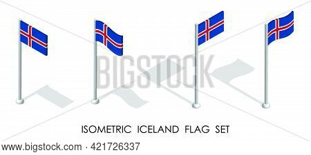 Isometric Iceland Flag In Static Position And In Motion On Flagpole. 3d Vector