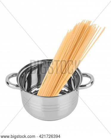 Spaghetti In A Saucepan Isolated On White Background